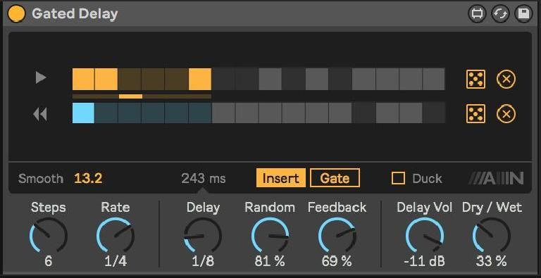 Gated Delay on a standard downbeat Clap, introducing subtle transforming delay times in the background with a reversed sound every third time around.