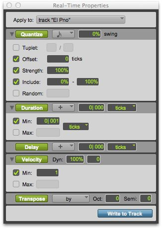 The MIDI Real-Time Properties window: Track Properties