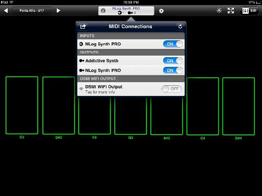 Midi Touch's Connections window showing open apps with virtual midi ports.