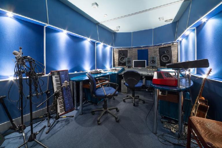 Control room in music studio
