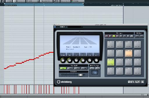 Midi is dragged from Groove Agent in one of Cubase's MIDI tracks