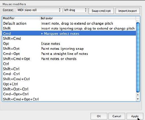MIDI Editor > Mouse Modifier