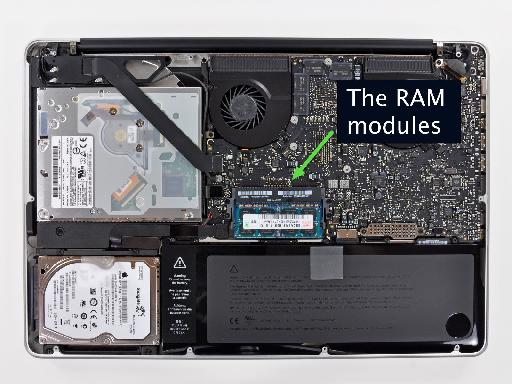 The RAM is found in the centre of a MBP's lower section.
