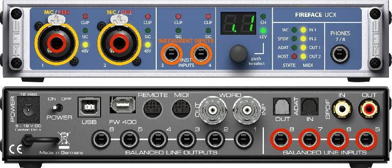 "An interface with combo mic (yellow) & line (red) inputs, and 1/4"" instrument (orange) inputs"