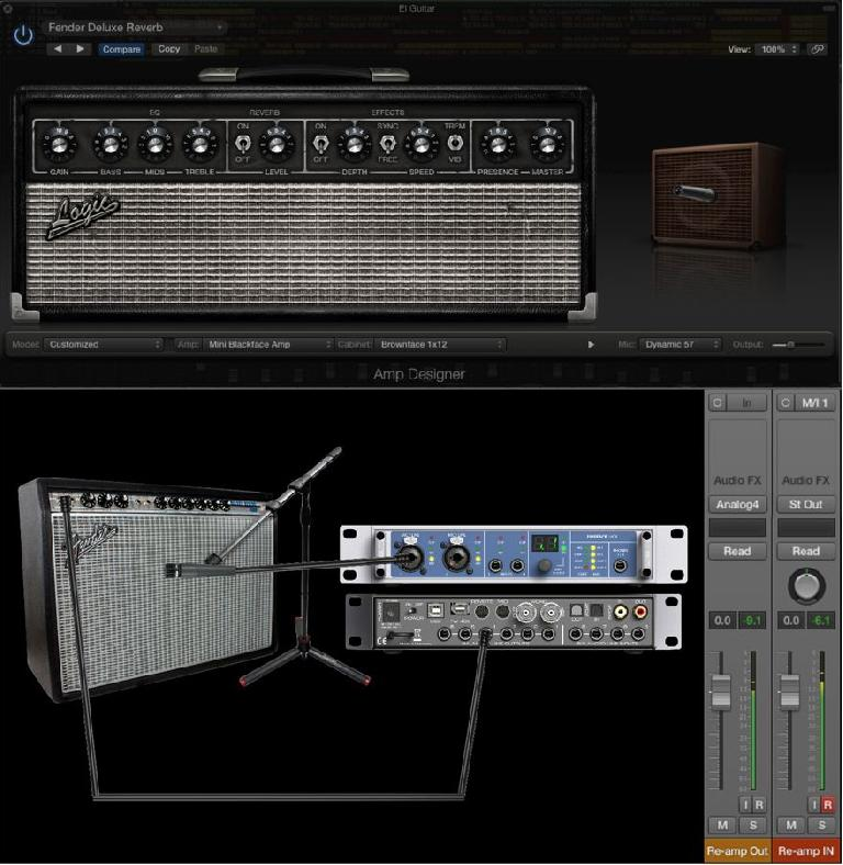wo approaches to Re-Amping: virtual amp sim (top) or real amp (bottom)
