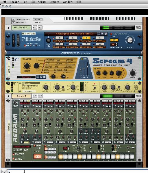A typical single side chain / compressor set up in Reason 6.5.