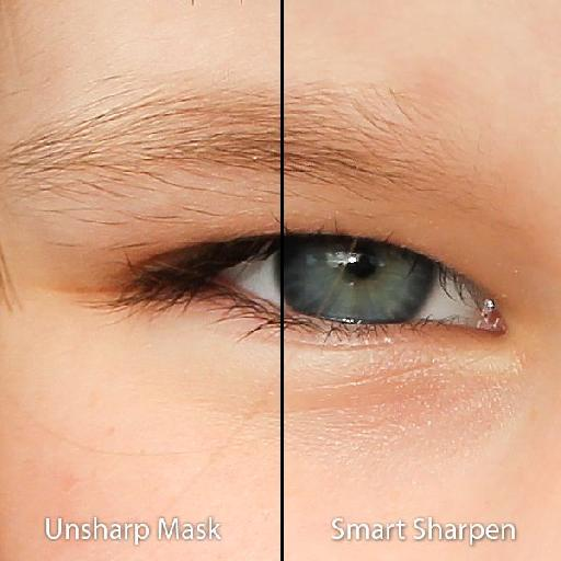 The Unsharp Mask on the left has sharpened low-level noise, while the Smart Sharpen has left it safely alone.