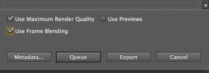 The Queue and Export buttons