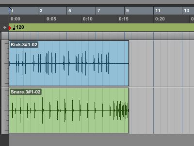 This 8 bar section was recorded without click, and requires a tempo map to make it fit 8 bars exactly on the timing grid