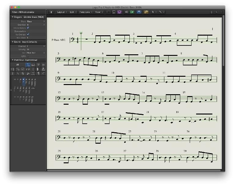 Fig 6 The Score Window display of the same MIDI (Bass) track, after Display Quantization