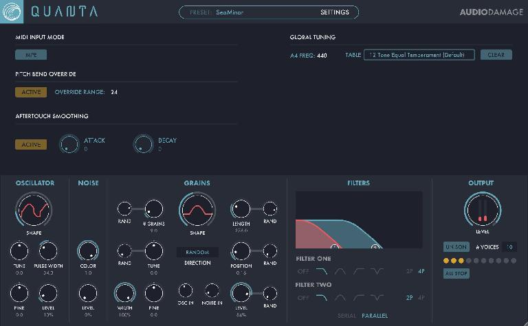 Quanta's global Settings include optional MPE MIDI input, Aftertouch smoothing, and alternate tunings