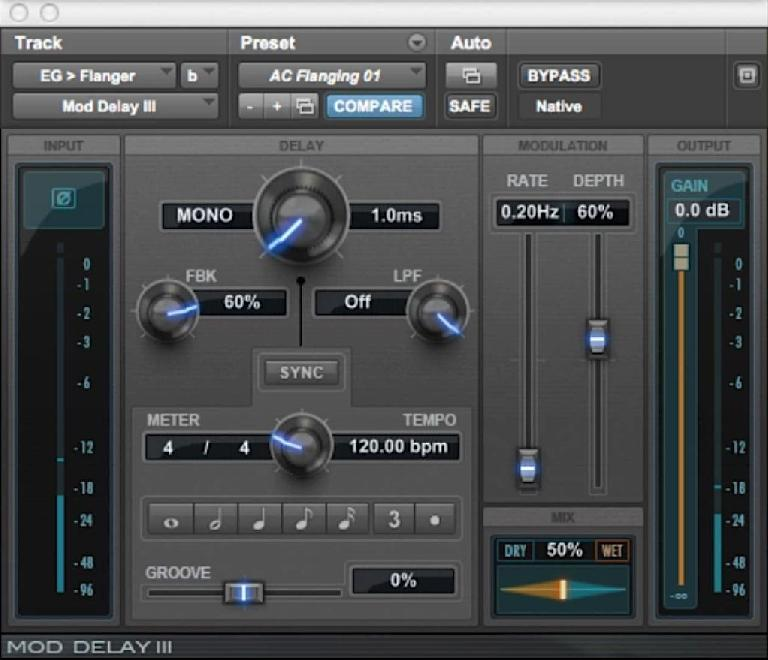 A delay plug-in set up for a classic Flanging effect