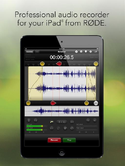 Røde Rec features powerful editing tools with a simple interface and intuitive controls.