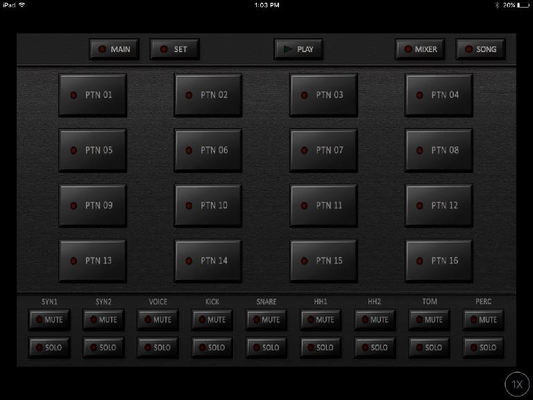 Korg iDS-10 pattern screen.