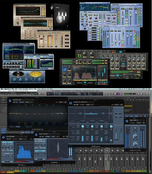 Fig 2 Mastering plug-ins: third party bundles (top); DAW-included plug-ins in Logic (bottom).