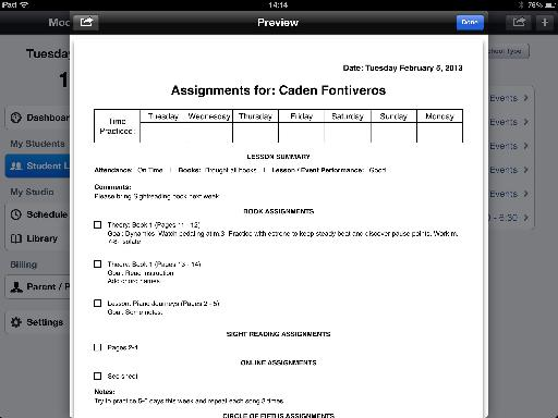 Student Assignment Sheet.