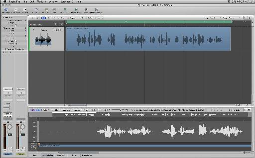 The recorded vocal ready to be edited and processed