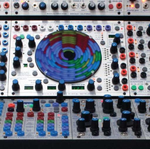 Close-up of the Buchla 252e Polyphonic Rhythm Generator.