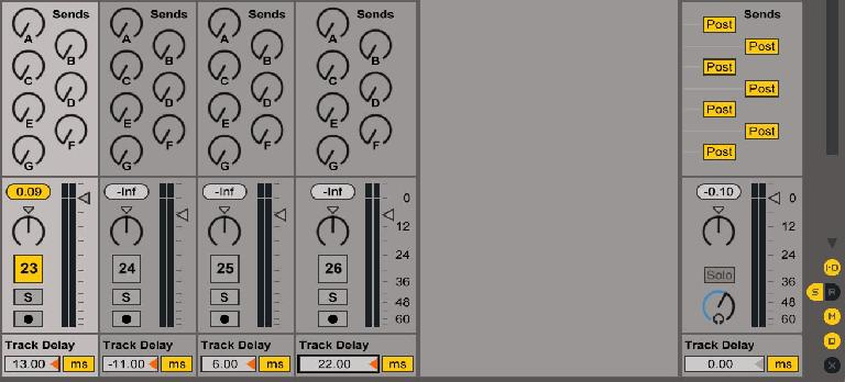 Track Delay is visible beneath each track's volume slider in the Session view, so long as the D toggle, located above the Crossfader X and below the Mixer M toggles in the Mixer reveal area at bottom right, is enabled.