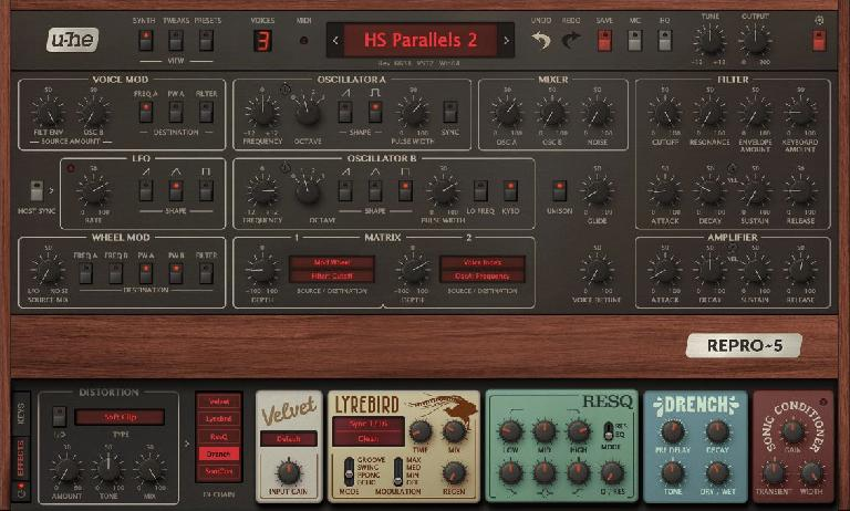 u-he Repro-1 effects section.