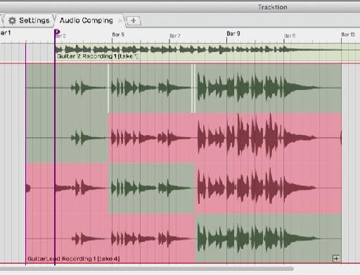 Comping Audio is easy in Tracktion 6.