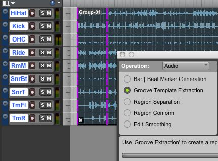 Extracting a groove template from a region-grouped drum performance