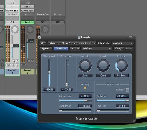 Logic's noise gate is triggered by a percussion loop