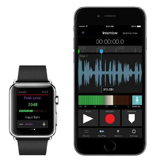 There's an Apple Watch control element to Apogee MetaRecorder.