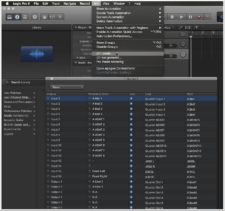 5. Configure Your I/O Labels (Logic Pro)