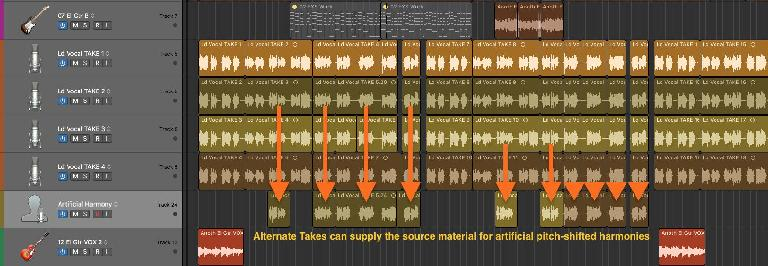 Use alternate take(s) as the source(s) for an artificial harmony