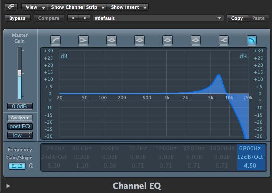 The Channel EQ High Cut settings.