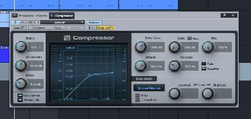 A heavy compression setting on the pad sound.