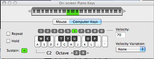On-screen piano keyboard
