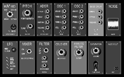 Polytec Pi L Squared USB duophonic synthesizer.