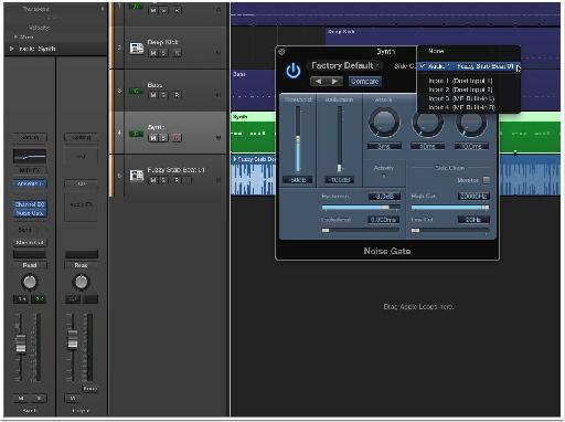 Select the audio track from the side chain menu.