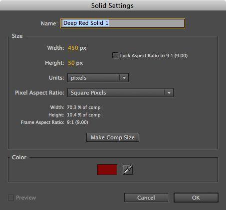 Create a new solid, 450x50 pixels