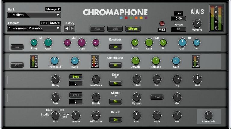 Chrompahone 2 effects screen.