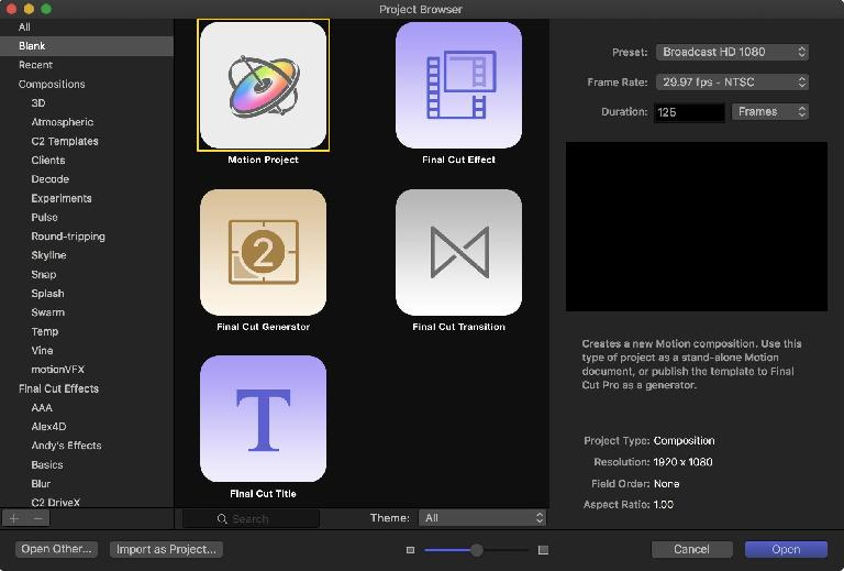 Any old new project is fine here — check out the new pretty icons though