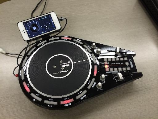 Casio Trackformer XW-DJ1 with iPhone attached.