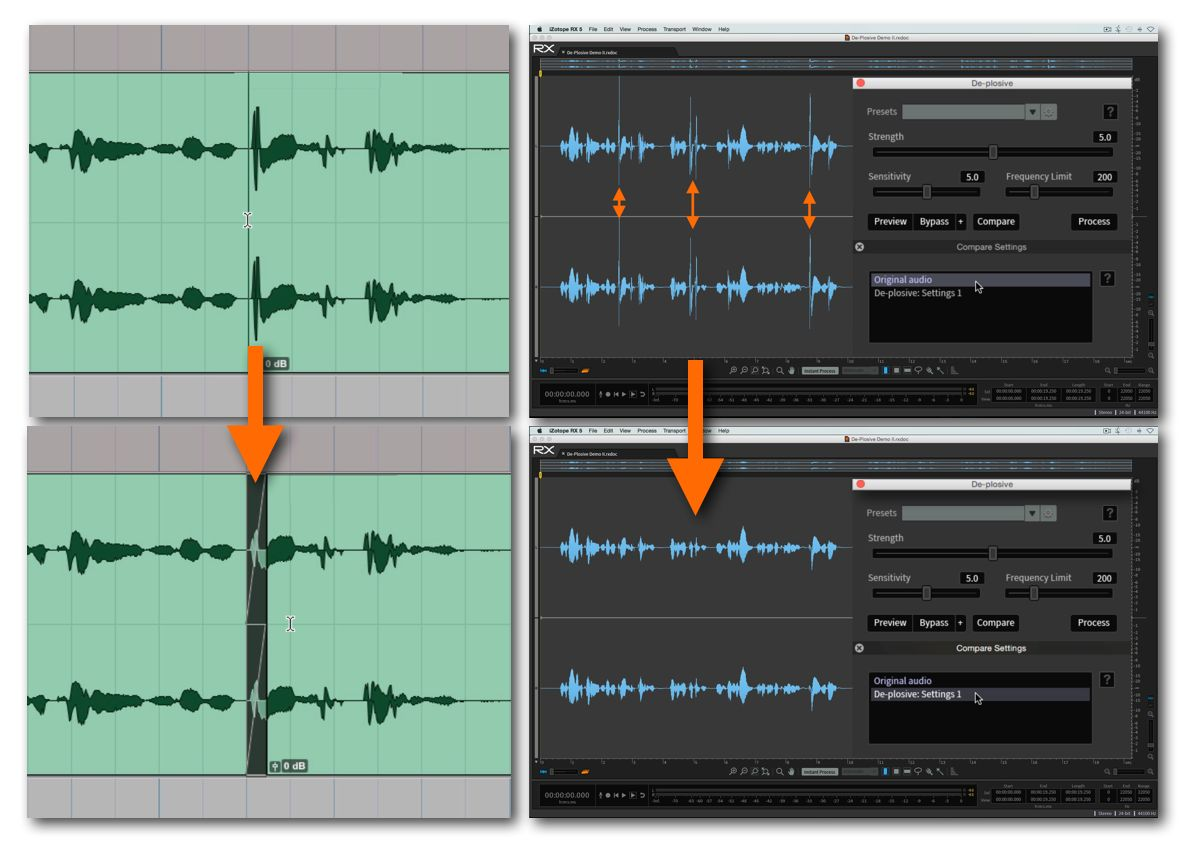 Fig 3 Plosives eliminated by (L) editing them out; (R) applying audio repair software processing (iZotope RX5)