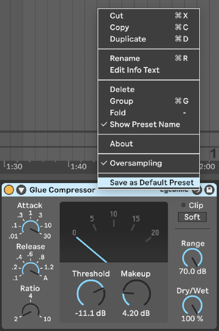 PIC 13: Saving a Default Preset of Glue Compressor