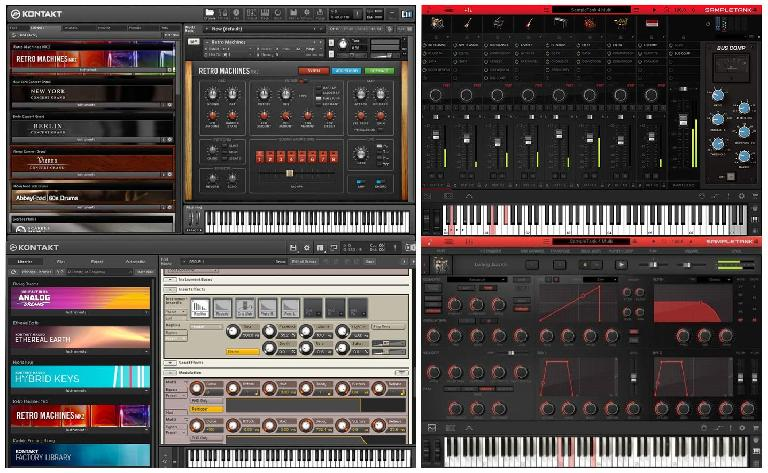A full-featured sampler (Kontakt, L) and a playback-only instrument (SampleTank, R)