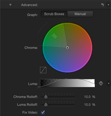The Advanced section, where you can adjust fine details of the key's Chroma and Luma