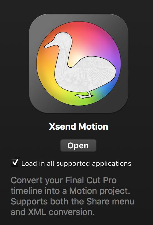 Search in the FxFactory interface to find Xsend Motion