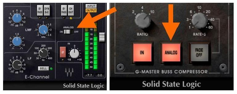 "Fig 4 The ""Analog"" switch in the various SSL 4000 Collection plug-ins."